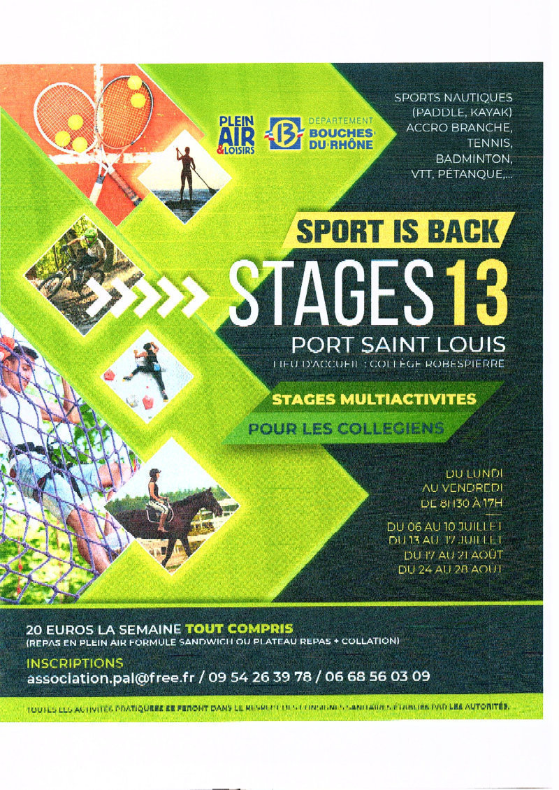 STAGES 13- SPORT IS BACK